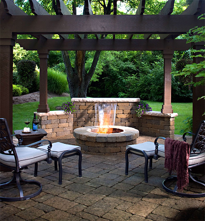 Pergolas Arbors Enhance Pavers Retaining Walls Firepits. Fire Pit ... - Patio Designs With Pergola And Firepit - Patio Designs