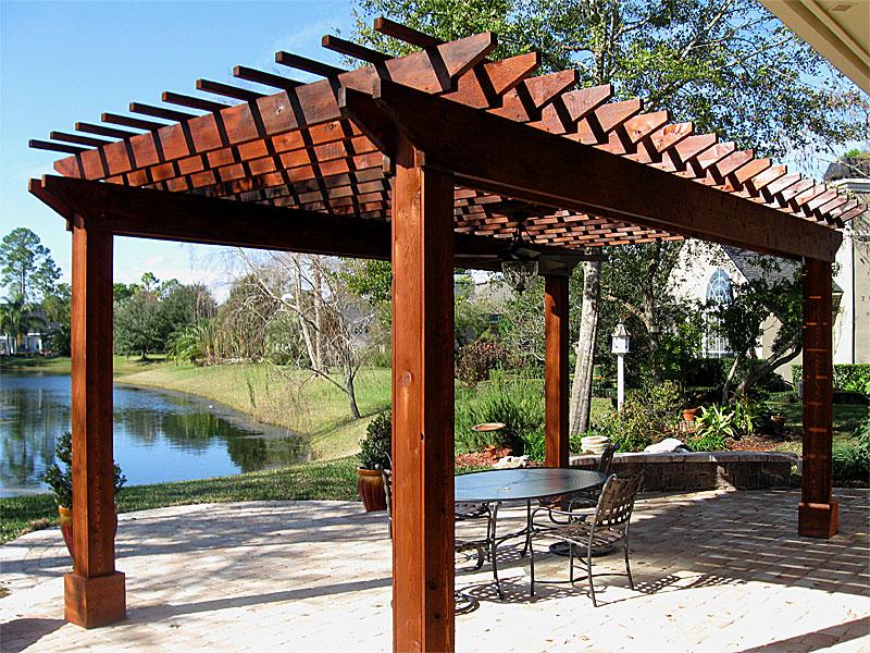 Pergolas arbors enhance pavers retaining walls - Pergolas de madera fotos ...