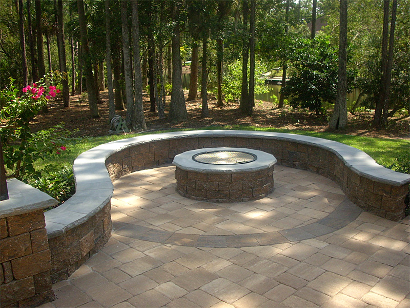 Paver patio fire pit patio design ideas - Paver designs for backyard ...