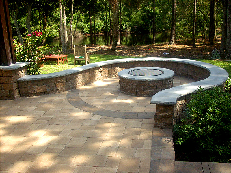 Brick Paver Patio, Pergola, Firepit, U0026 Retaining Wall