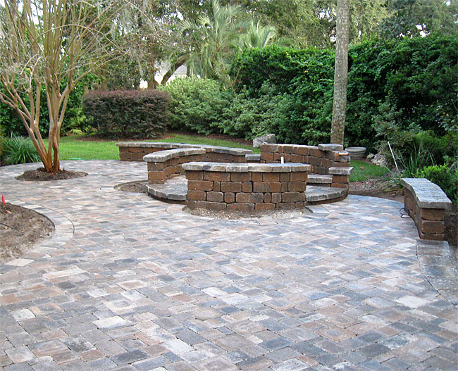 Hardscape package 4 brick paver patio pergola firepit for Patio and retaining wall ideas