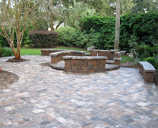 Brick Patio Wall Designs: Brick Paver Patio, Pergola, Firepit