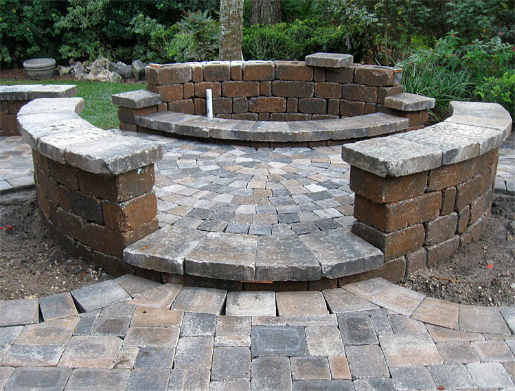 Brick Paver Patio, Custom Firepit, Retaining Wall, U0026 French Doors