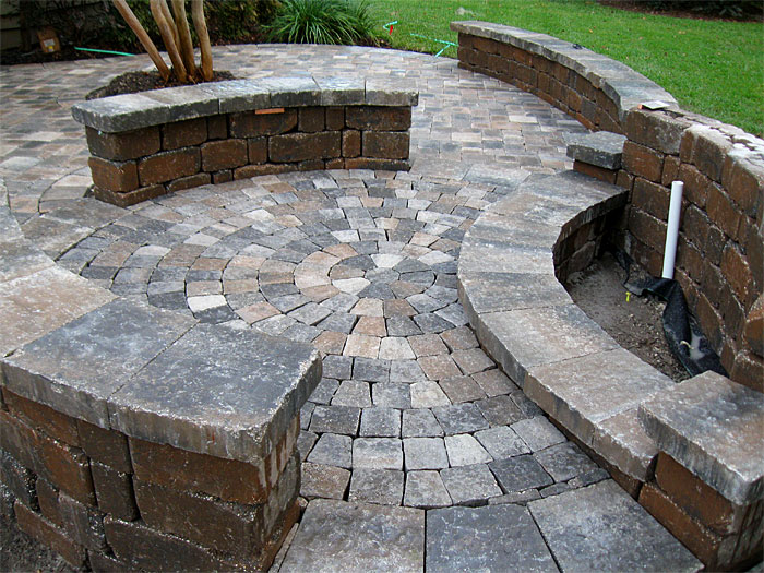 brick paver patio pergola firepit retaining wall enhance